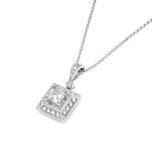 2 Ct Princess And Round Diamond Necklace Pendant